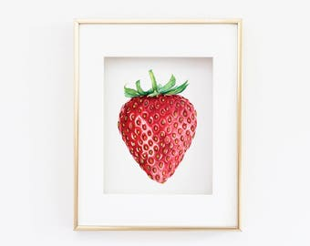 Matted 11x14 Watercolor Strawberry Print