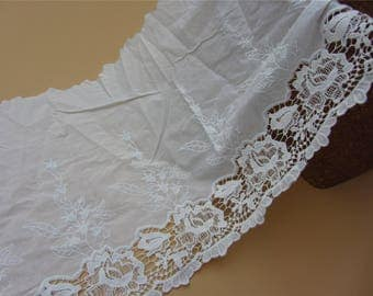 embroidery Floral Cotton Lace Trim in 38cm, hollow up white Cotton Lace Trim, Floral Lace for Girls, Women, Clothings / Lace supply (1yard)