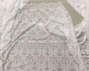 Rococo Lace fabric in white,dress lace sell by yard ,wedding lace ,grass and flower embroidery lace