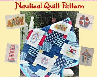 Baby Quilt Pattern Embroidery Nautical