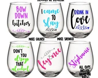 Feyonce Drunk In Love Bridesmaid Wedding Bachelorette Stemmed Stemless Wine Glass