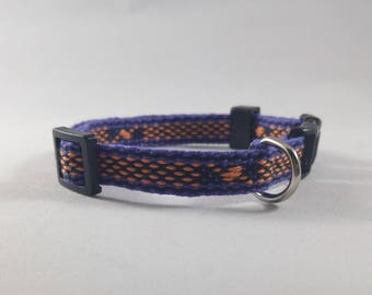 Cat Collar - Halloween! Handwoven; Adjustable; Breakaway safety buckle - Purple with tiny orange lightning; Optional tag