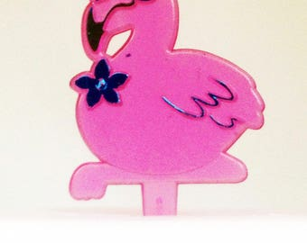 12 Pink Flamingo Cupcake Picks Hawaiian Toppers Party Favors