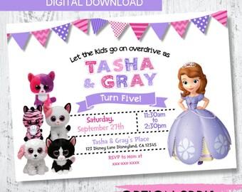 Sofia the first and Beanie Boo invitation. Princess Sofia Invitation. Two These Birthday Invitation. Girl Twin Invitations. Sisters Invite