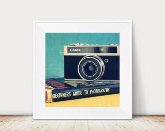 Vintage camera photograph, retro camera print, still life photograph, gift for photographer, vintage style, antique camera photo, camera art