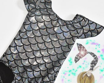 Girls Mermaid Flutter Sleeves Metallic Leotard. Metallic Fish Scales Mermaid Dance Leotard. Gymnastics Leotard