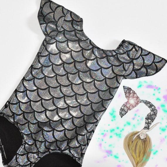 Girls Mermaid Flutter Sleeves Metallic Leotard. Metallic Fish Scales Mermaid Dance Leotard. Gymnastics Leotard
