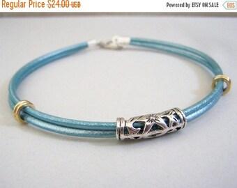 Blue Leather Anklet, Beach Jewelry, Ankle Bracelet, Sizes 6-12 inchs, Body Jewelry,Womens Bracelet, by Aeccentricsol