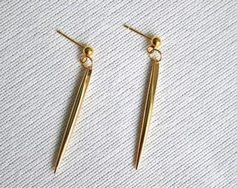 Gold Spike Minimal Earrings, Spike Earrings