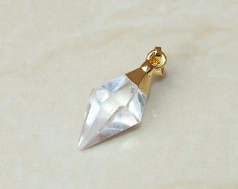 Faceted Quartz Crystal Pendant - Gold Plated Cap and Bail -  Faceted Natural Crystal Point Pendant -  Quartz Point Pendant - 12mm x 25mm