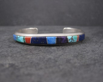 Vintage Navajo Sterling Inlay Cuff Bracelet Native American Jewelry Muskett 6 Inches