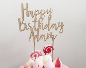 Personalised happy birthday wood cake topper - acrylic timber birthday custom made laser cut cake decoration toppers