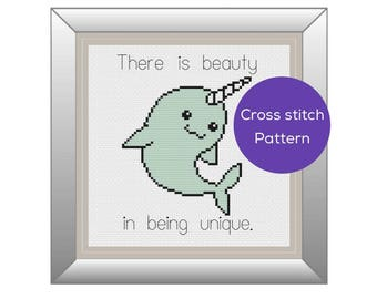 Unique Narwhal Cross Stitch Pattern