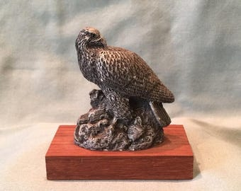 Vintage Bald Eagle on Wood Base Collectible Deaton Museum Figurine. National Wildlife Federation Souvenir Figurine. Home Office Decor Gift