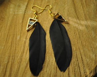 Triangle chic and Bohemian feather earrings