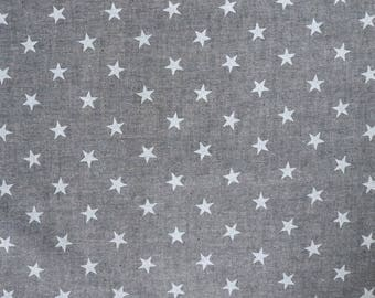 Fabric - Sevenberry - Star print grey chambray woven yarn dyed cotton.