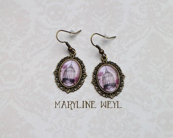Earrings Cabochon caged
