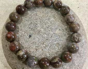 Fathers Day. Ocean Jasper Gemstones. Mens Bracelet. Beaded Bracelet. Meditation Jewelry. Yoga Bracelet. Simple Stretch. Masculine.