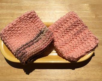 Cotton knit dishcloths, texture knit dishcloths, cotton wash cloths, peach and brown cloths, bridal shower gift, housewarming gift, set of 2