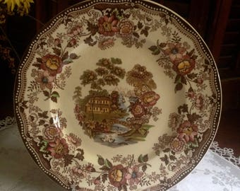 Brown multicolor transfer ware dinner plate.  Clarice Cliff Tonquin pattern by Royal Staffordshire