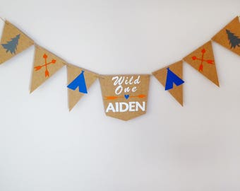 Personalised wild one first birthday party bunting decoration, tribal arrow, teepee adventure