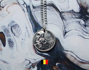 Belgian 50 Francs Handmade Silver Coin Necklace - Silver Plated Chain.