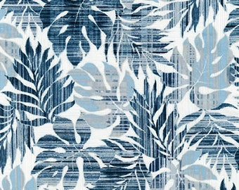 Island Paradise by Sevenberry for Robert Kaufman - Leaves Blue | PRE-ORDER Fabric | Quilting, Sewing, Home Decor Supplies