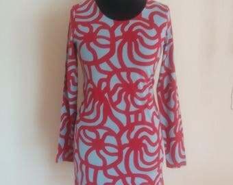 Vintage Marimekko Red/Gray Dress Size M