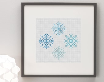 Snowflakes Cross Stitch Pattern, Instant Download, Modern, Simple, Pretty, Winter