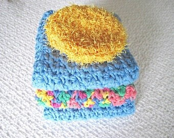 Handmade Dishcloth Set with yellow gold scrubby, Crochet Cotton dishcloths in blue and multi colors, Bridal shower gift, gift for her