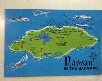 Vintage Bahamas Map Postcard Nassau Bahamas Postcard