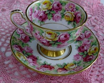 ROYAL STAFFORD ROSANNE Bone China Cup and Saucer. Made in England.  Colorful Pink and Yellow Roses