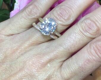 Oval SUPERNOVA Moissanite Wedding Ring Set 6.78ctw Colorless Ring .85cttw Natural Diamonds Hidden Halo Rose Gold Ring Pristine Custom Rings