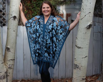 Teal Rose Burnout Velvet Shawl Top