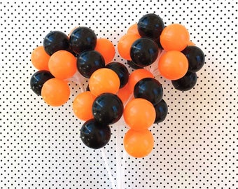 Halloween Party Balloon Cake Toppers (3 Stems), Halloween Cake Toppers, Halloween Balloon Picks in Orange and Black, Halloween Party Decor