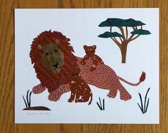 Lions, Lion Art Print, Lion wall art, lion cubs, cut paper art, african art, safari, child african art prints, baby room, nursery