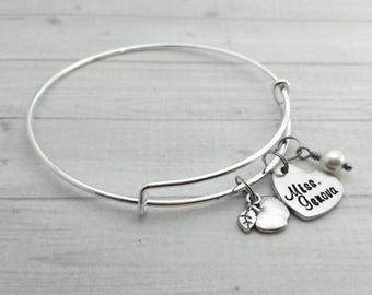 Hand Stamped teacher gift, teacher's bangle, personalized cuff, monogrammed bangle, custom bracelet,  personalized bracelet