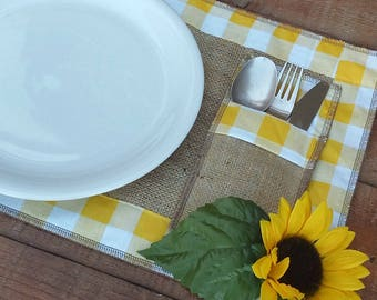 Gingham Placemats -  Gingham Cutlery Holders - Plaid Tablemats -  Cutlery Sleeves - Easter Placemats - Country Home Decor - Set of 12 Pieces
