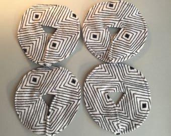 Large Size/Adult Feeding Tube Pad - Set of 4, Black & White Stripe/Geometric