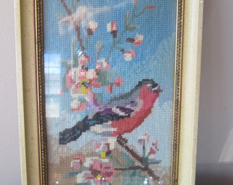 Vintage Embroidered Framed Bird Picture, Embroidery Nursery Decor