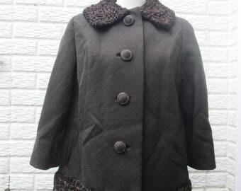 Vintage Dark Brown Peter Pan Collar Swing Coat