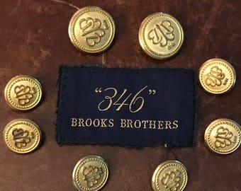 8 Brooks Brothers  Logo Metal Shank Blazer Buttons