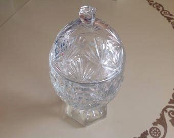 1980's Telaflora Egg Shaped Candy Dish with Lid