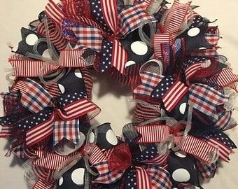 Sale Patriotic wreath, 4th of July wreath, flag wreath, America wreath, patriotic decor, 4th of July decor, fourth of july wreath, fourth of