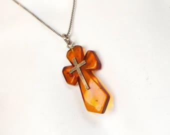 Amber cross pendant etsy amber cross pendant sterling silver genuine amber cross sterling silver chain antique amber cross silver necklace mozeypictures Gallery