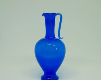Blown Glass; Cobalt Blue Urn; Vase; Pitcher; Approx. 6.5 x 3 in. Delicate !!!