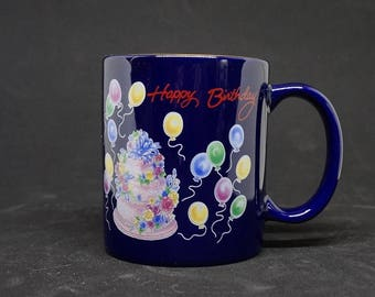 Happy Birthday; Coffee Mug; Approx. 4 inches (h) x 3 inches (w); Cobalt Blue; Gold Trim; Banaux Canada !!!