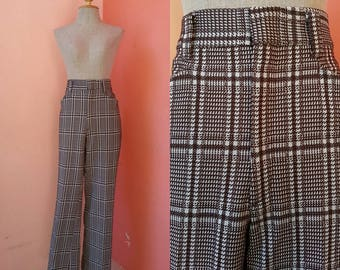 Retro Pants Womens Pants Casual Pants Vintage Brown Plaid Pants