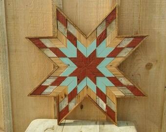 wooden barn quilt star,  rustic quilt decor, wooden star