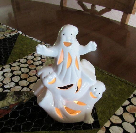 Ghostly Trio White Ceramic Figurine Votive Candle Holder Halloween Decor